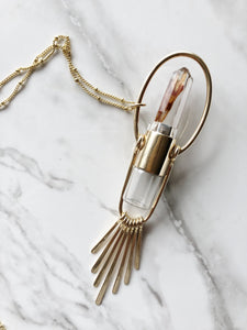 Red Brass Fringe - Nova Rollerball Necklace with Amphibole