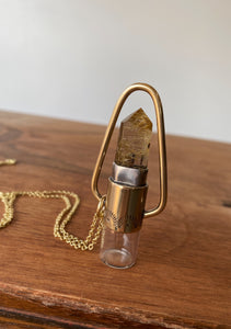 Red Brass Nova Rollerball Necklace with Stamping- Rutile Quartz