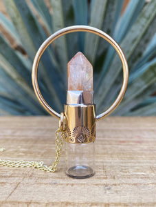 Red Brass Rollerball Necklace with Golden Healer and Stamping