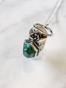 Sterling Silver Rollerball Necklace with Mexican Turquoise and Flower