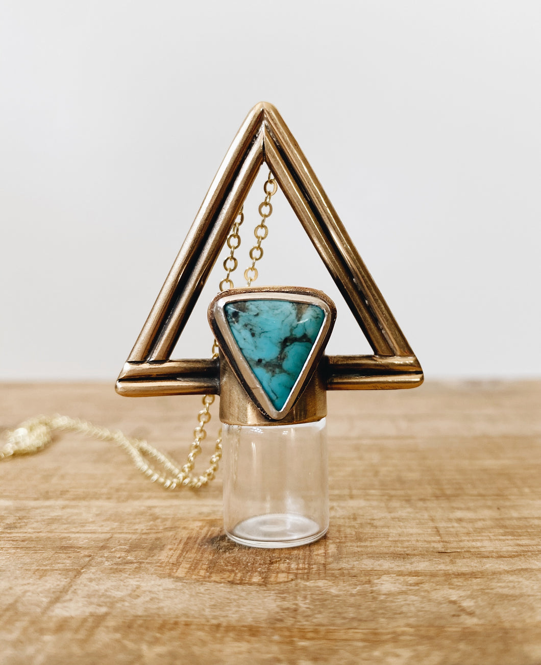 Red Brass Double Triangle Rollerball Necklace - Nacozari Turquoise