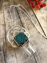Load image into Gallery viewer, ➖V E R O N A➖ Sterling Silver Rollerball Necklace with Hubei Turquoise