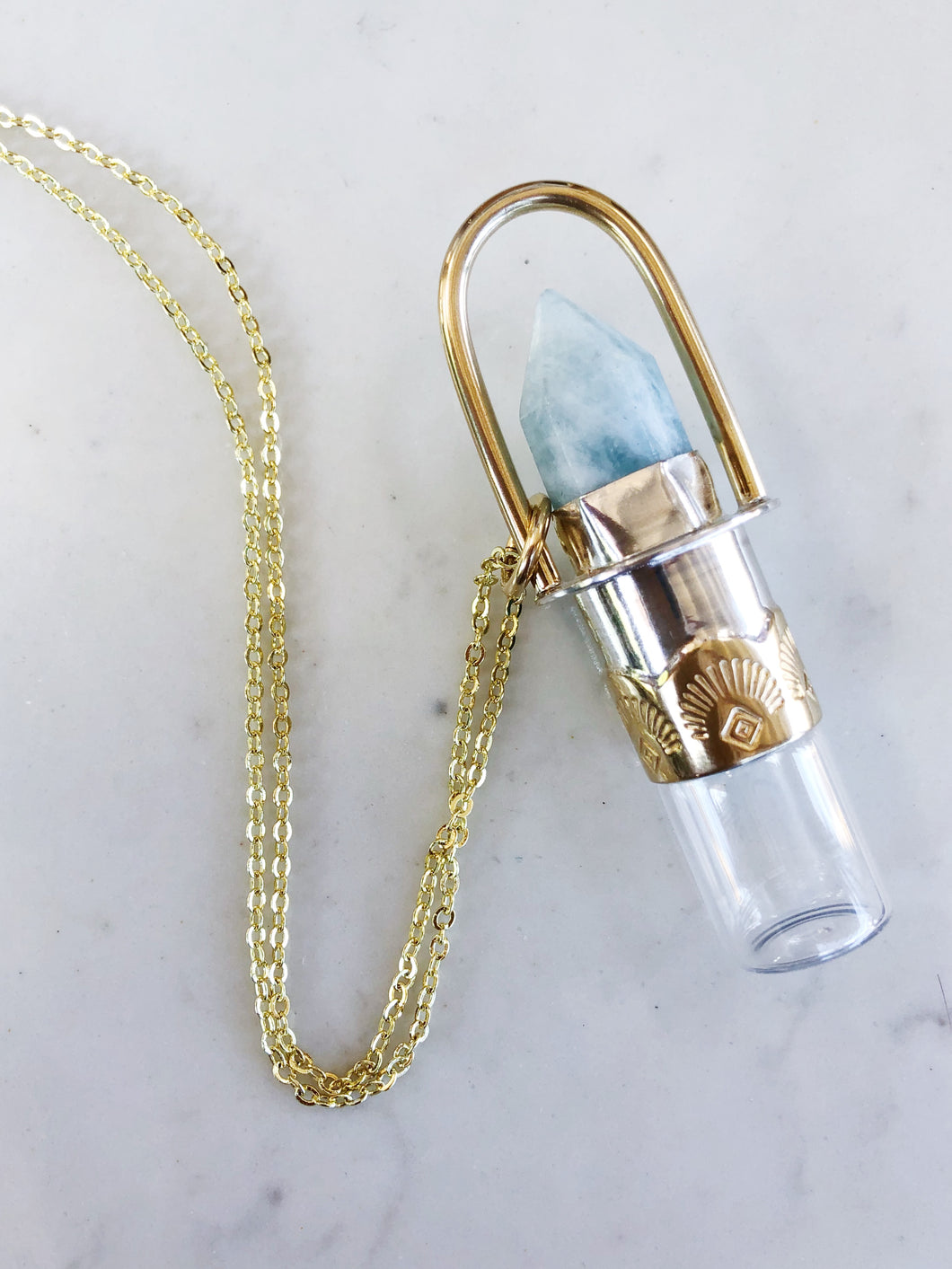 Mixed Metals Rollerball Necklace with Aquamarine