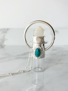 Sterling Silver Rollerball Necklace with White Amphibole and Mexican Turquoise