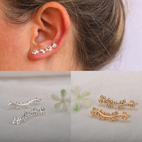 """Tiny Vines"" Leafy Branch Stud Earring"
