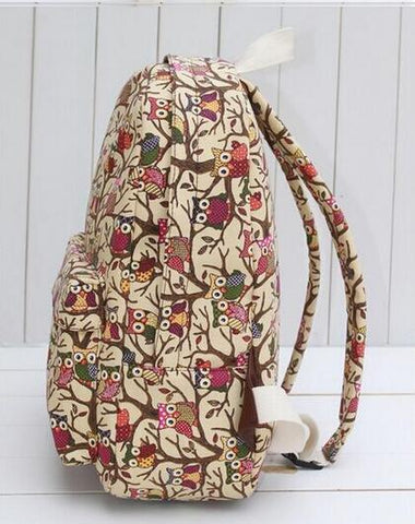 """Wisdom through Work"" Canvas Owl Print Backpack *LIMITED*"