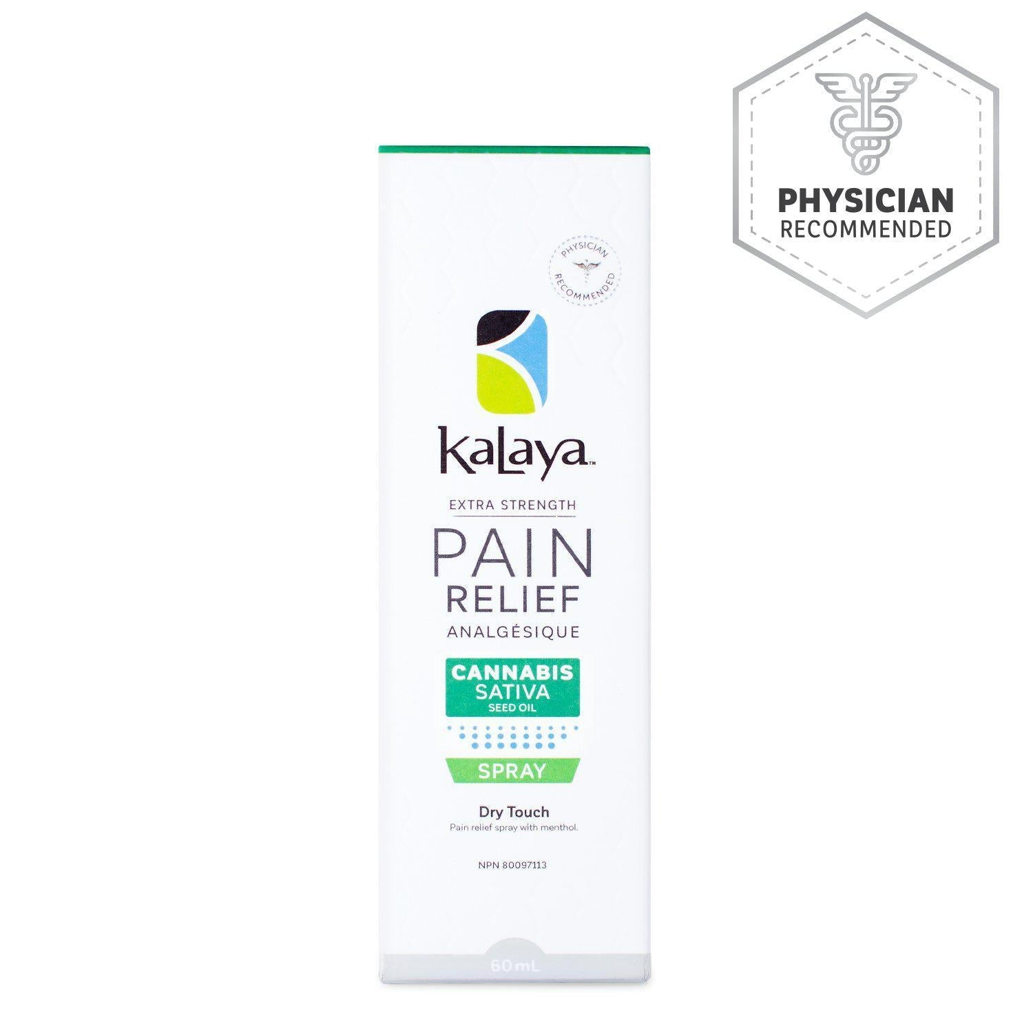 Kalaya Pain Relief Spray with Cannabis Sativa Seed Oil 60mL - Physician Recommended