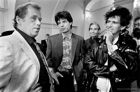 08/18/90 - Prague Castle - Václav Havel receives members of the Rolling Stones