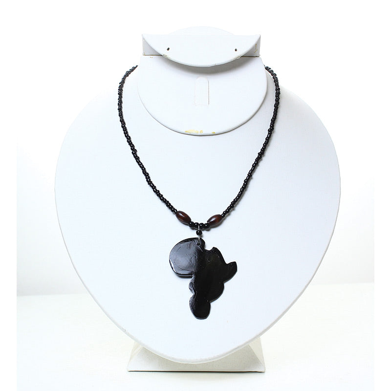 Africa Pendant Necklace: Solid Black