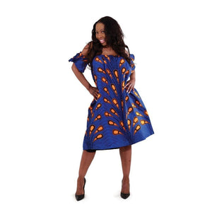 African-Made Blue Peacock Bubble Dress