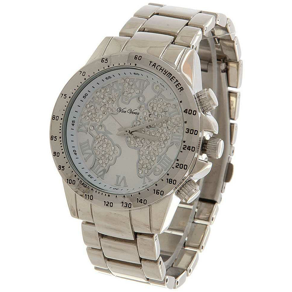Vice Versa World Map Metal Mens Watch -Silver with rhinestone