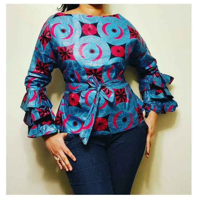 African Print Long Ruffle Sleeve Blouse - Gray/Red