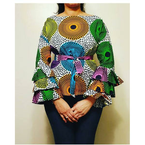 African Print Long Ruffle Sleeve Blouse - Circle