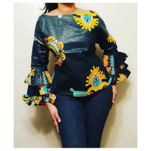 African Print Long Ruffle Sleeve Blouse - Black/Yellow