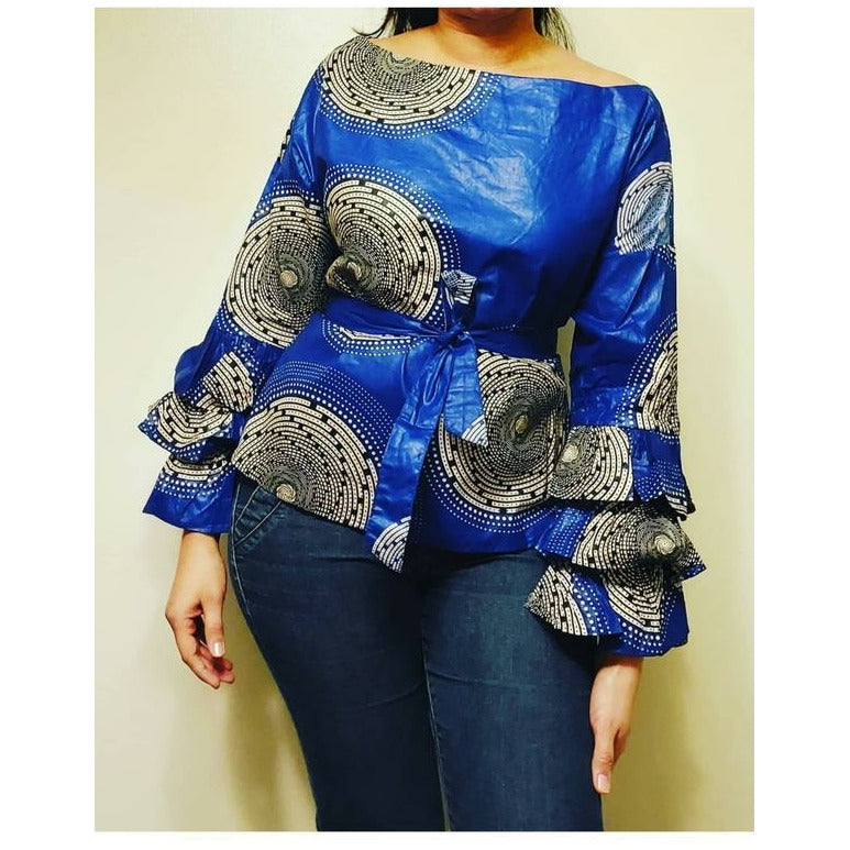 African Print Long Ruffle Sleeve Blouse - Royal Blue/White