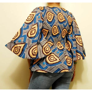 African Ankara Print Cotton Smock Flare Casual Kimono Blouse Shirt Top with Belt Headwrap