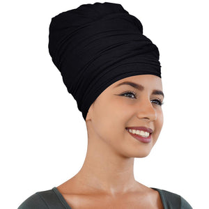2 Pcs Black and Chocolate Brown Solid Color Head Wrap Stretch Long Hair Scarf Turban Tie Kente African Hat Jersey Knit H