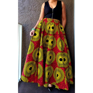 Long Maxi Skirt - One Size Fits Most - S-3XL - Red & Yellow