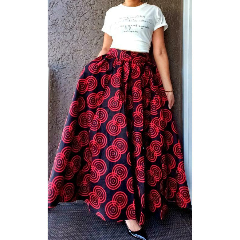Long Maxi Skirt - One Size Fits Most - S-3XL - Red & Black Circle