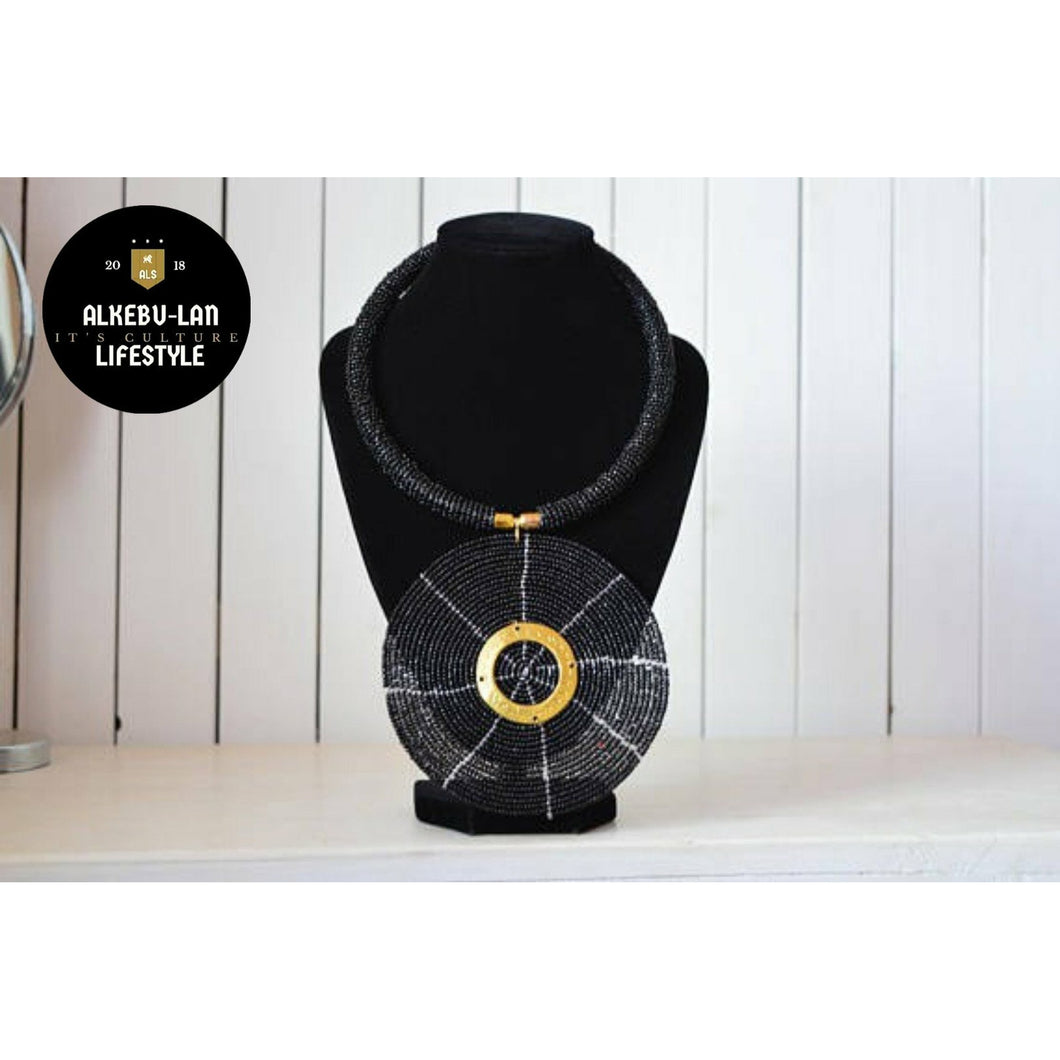 Black disc African beaded Necklace - Alkebulan Lifestyle
