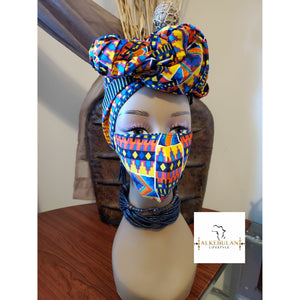 African Print Mask-Headwrap Set -Columbia
