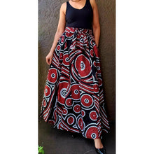 African Print Ankara Long Length Maxi Skirt - Red