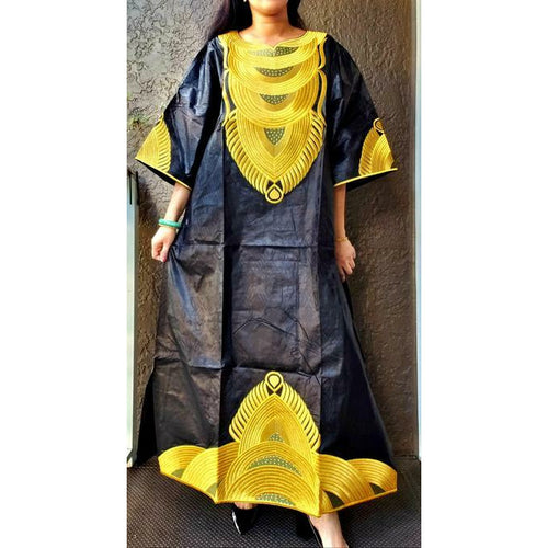African Basin Riche Embroidery Long Kaftan Dress - Black Yellow