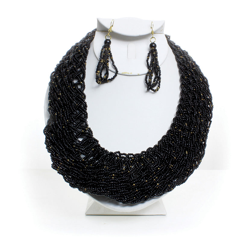 African Black Maasai Beaded Twist Necklace Set