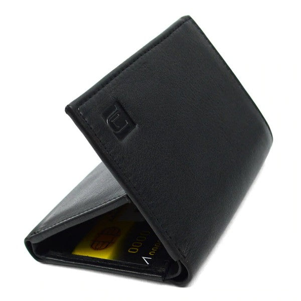 Mens Genuine Leather Tri-Fold Wallet - Black