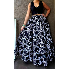 Long Maxi Skirt-White Circle Black - One Size Fits S to 3XL