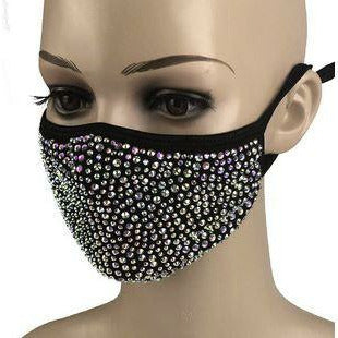 Crystal Rhinestone Bling Mask with Filter Pocket - Black with AB Rhinestone