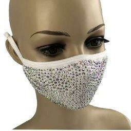 Crystal Rhinestone Bling Mask with Filter Pocket - White