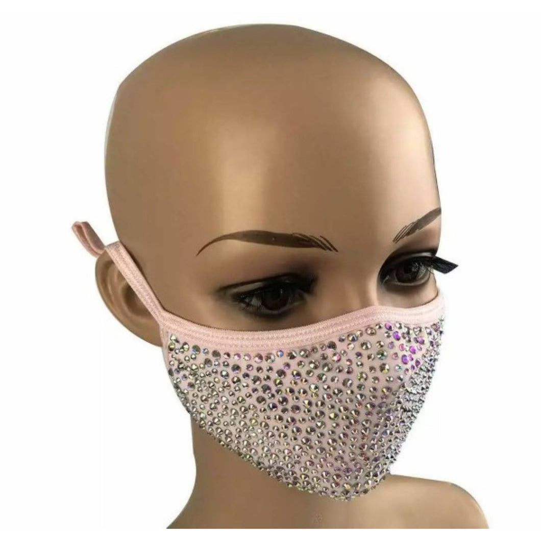 Crystal Rhinestone Bling Mask with Filter Pocket - Pink