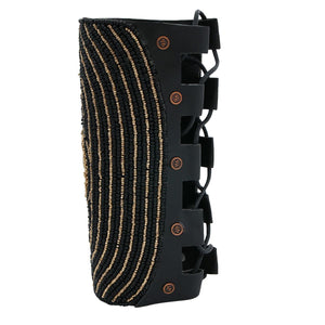 Black and Gold Bead Embroidered Arm Cuff Bracelet with Crystal Detail