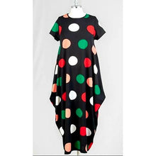 Long Printed Bubble Dress - One Size Fits Most S-2XL - Polkadot