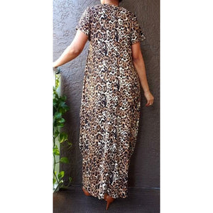 Long Printed Bubble Dress -One Size Fits Most S-2XL-  Black/White
