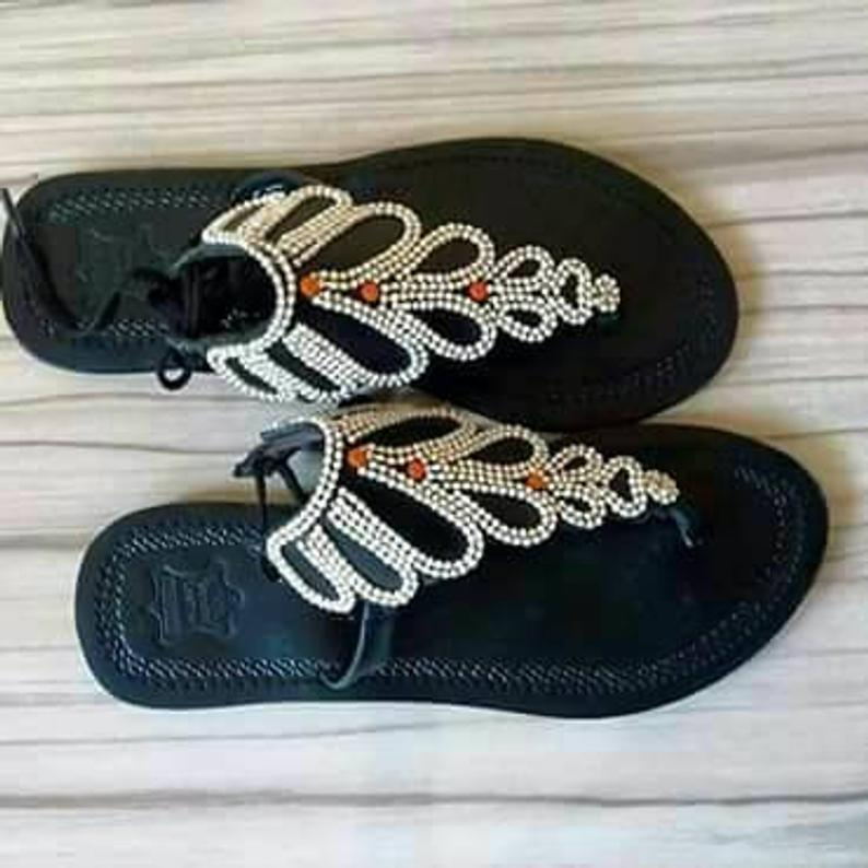 African beaded handmade leather sandals