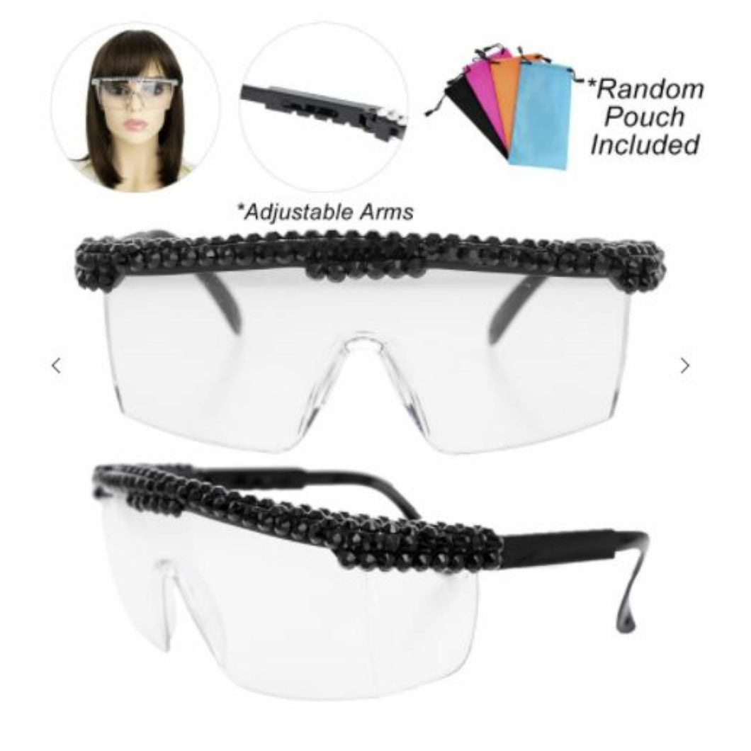 Bling Rhinestone Clear Embellished Visor Protective Fashion Safety Eye Wear Goggles / Glasses and Pouch - Black