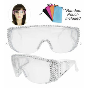 Bling Rhinestone Clear Embellished Visor Protective Fashion Safety Eye Wear Goggles / Glasses and Pouch - Silver