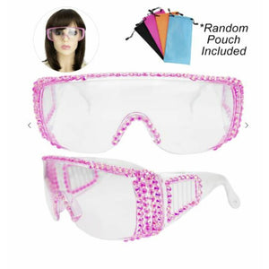 Bling Rhinestone Clear Embellished Visor Protective Fashion Safety Eye Wear Goggles / Glasses and Pouch
