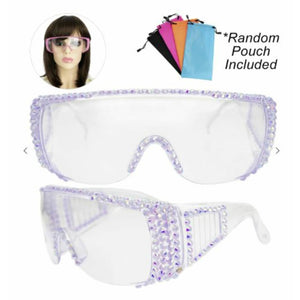 Bling Rhinestone Clear Embellished Visor Protective Fashion Safety Eye Wear Goggles / Glasses and Pouch - Lavander