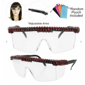Bling Rhinestone Clear Embellished Visor Protective Fashion Safety Eye Wear Goggles / Glasses and Pouch - Red