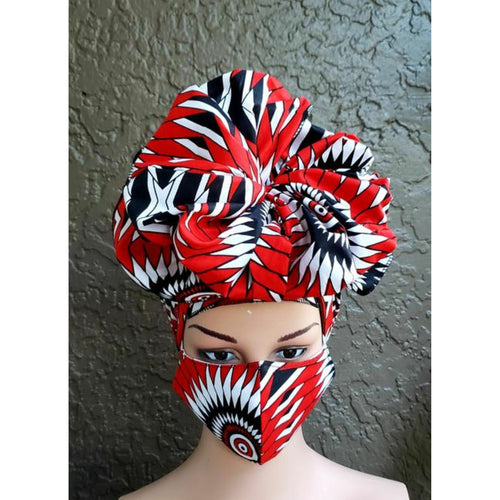 African Kente Print Mask-Headwrap Set -Red/White