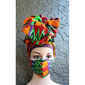 African Print Mask and Headwrap Set - Burgundy/Green