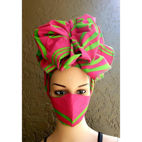 African Print Ankara Mask and Headwrap Set - Pink
