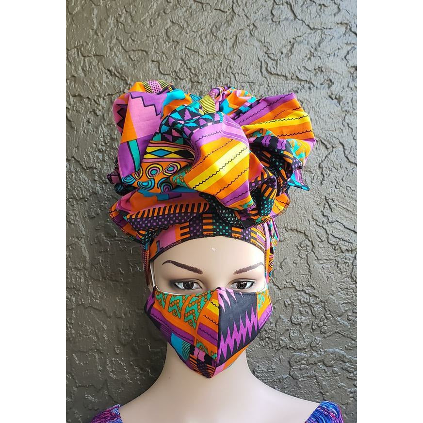 African Print Mask and Headwrap Set - Pink/Turquoise/Purple Pattern