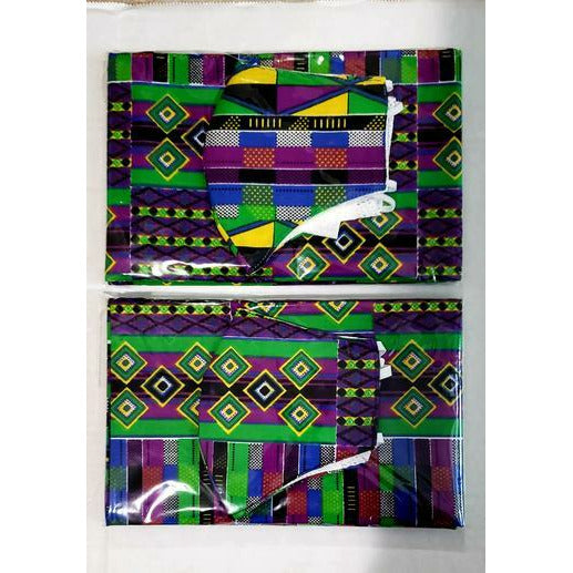 African Print Mask and Headwrap Set - Purple/Green