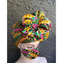 African Print Mask and Headwrap Set - Yellow/Purple
