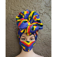 African Kente Print Mask-Headwrap Set - Africa