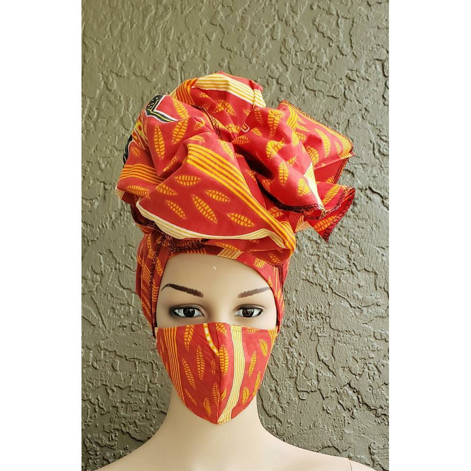 African Print Mask and Scarf Headwrap Head Wrap Set - Red/Orange